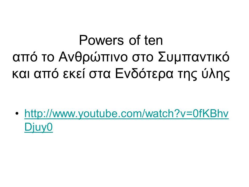 Powers of ten από το Ανθρώπινο στο Συμπαντικό και από εκεί στα Ενδότερα της ύλης http://www.youtube.com/watch?v=0fKBhv Djuy0http://www.youtube.com/wat