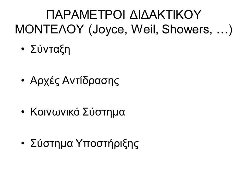 ΠΑΡΑΜΕΤΡΟΙ ΔΙΔΑΚΤΙΚΟΥ ΜΟΝΤΕΛΟΥ (Joyce, Weil, Showers, …) Σύνταξη Αρχές Αντίδρασης Κοινωνικό Σύστημα Σύστημα Υποστήριξης