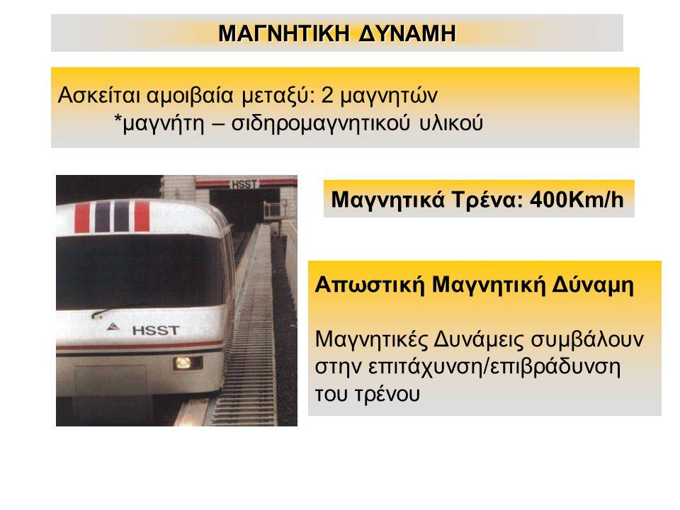 ΜΑΓΝΗΤΙΚΗ ΔΥΝΑΜΗ Ασκείται αμοιβαία μεταξύ: 2 μαγνητών *μαγνήτη – σιδηρομαγνητικού υλικού Μαγνητικά Τρένα: 400Km/h Απωστική Μαγνητική Δύναμη Μαγνητικές