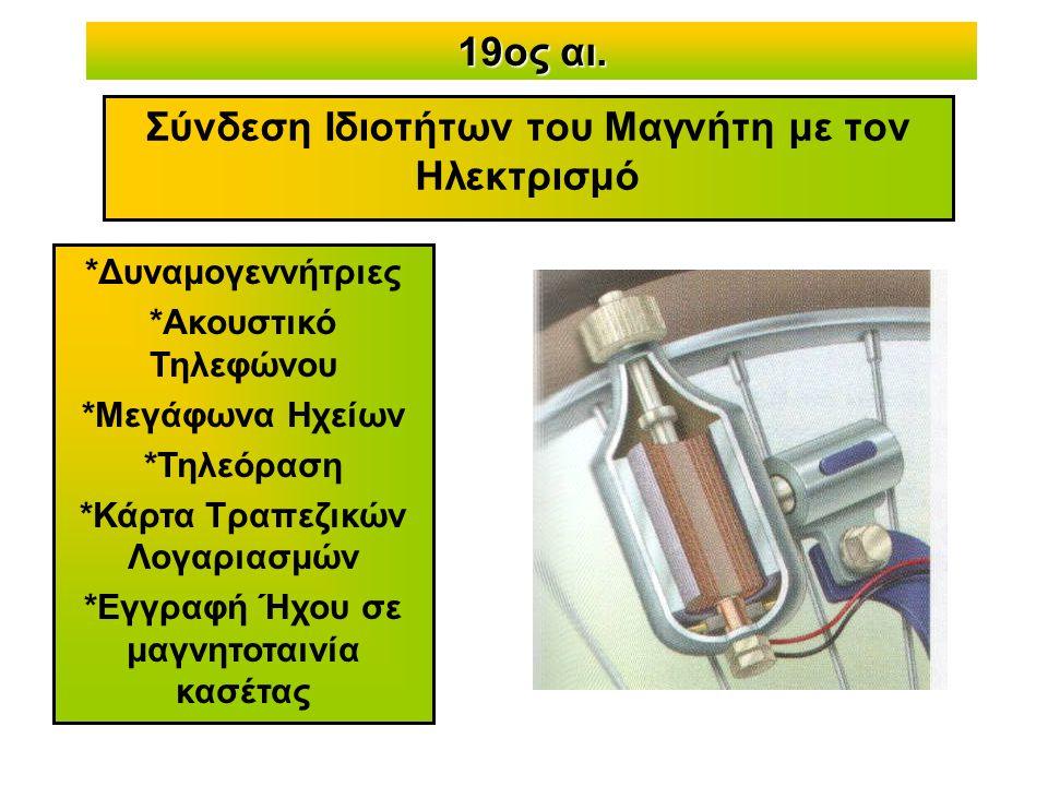 19ος αι. Σύνδεση Ιδιοτήτων του Μαγνήτη με τον Ηλεκτρισμό *Δυναμογεννήτριες *Ακουστικό Τηλεφώνου *Μεγάφωνα Ηχείων *Τηλεόραση *Κάρτα Τραπεζικών Λογαριασ