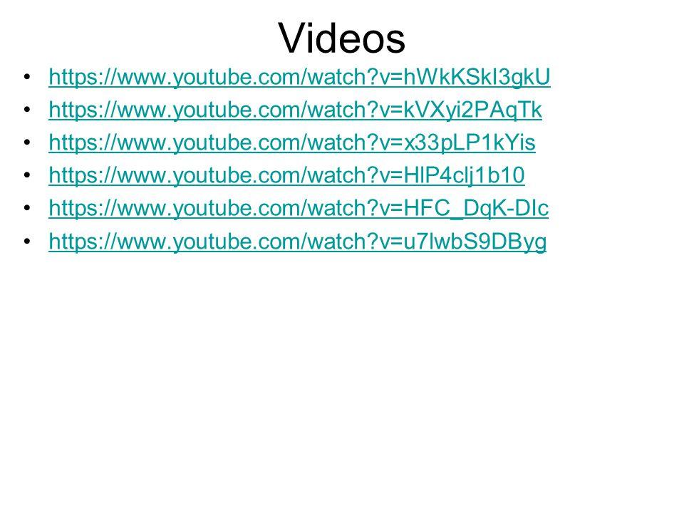 Videos https://www.youtube.com/watch?v=hWkKSkI3gkU https://www.youtube.com/watch?v=kVXyi2PAqTk https://www.youtube.com/watch?v=x33pLP1kYis https://www