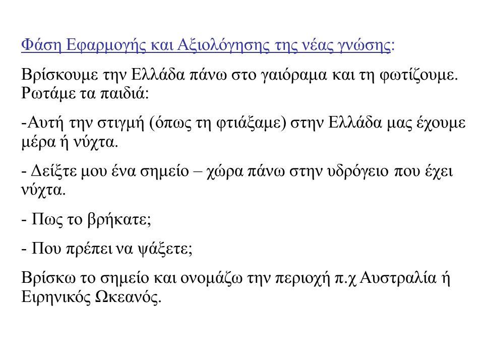 Φάση Εφαρμογής και Αξιολόγησης της νέας γνώσης: Βρίσκουμε την Ελλάδα πάνω στο γαιόραμα και τη φωτίζουμε. Ρωτάμε τα παιδιά: -Αυτή την στιγμή (όπως τη φ
