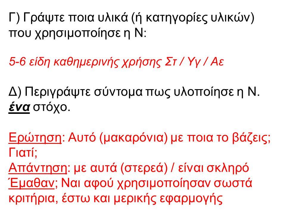 Γ) Γράψτε ποια υλικά (ή κατηγορίες υλικών) που χρησιμοποίησε η Ν : 5-6 είδη καθημερινής χρήσης Στ / Υγ / Αε Δ) Περιγράψτε σύντομα πως υλοποίησε η Ν. έ