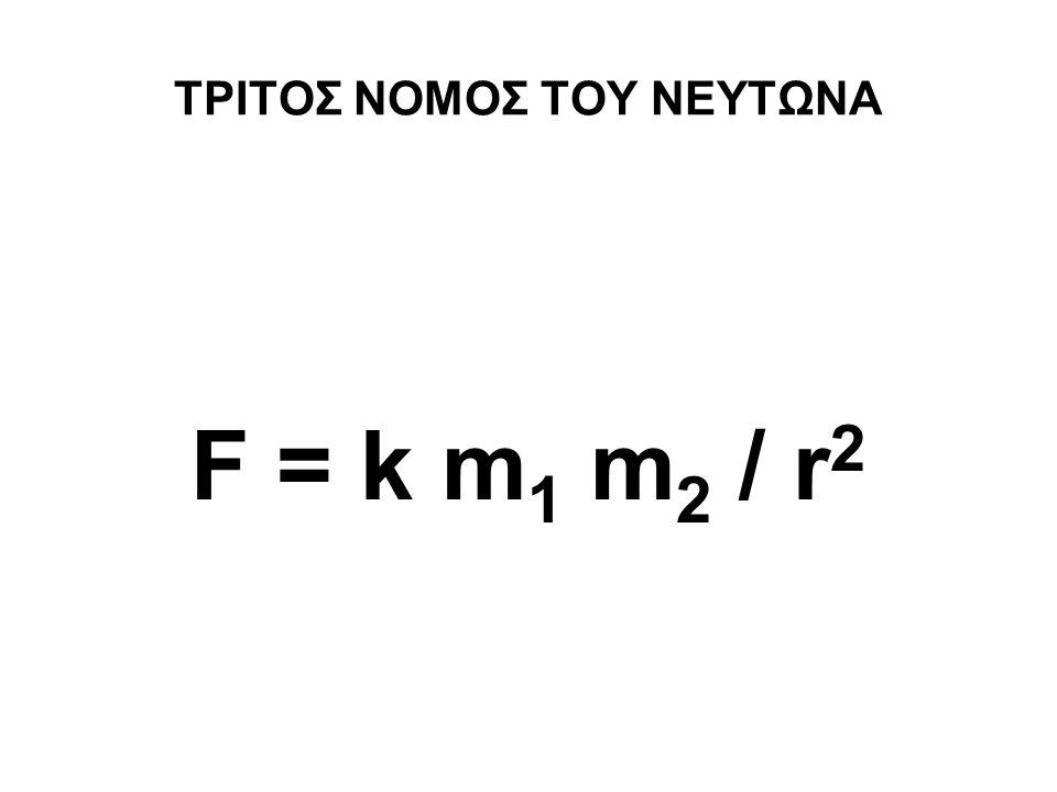 ΤΡΙΤΟΣ ΝΟΜΟΣ ΤΟΥ ΝΕΥΤΩΝΑ F = k m 1 m 2 / r 2