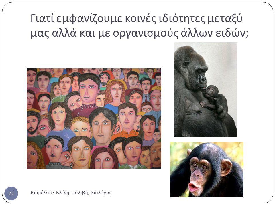 Γιατί εμφανίζουμε κοινές ιδιότητες μεταξύ μας αλλά και με οργανισμούς άλλων ειδών ; Επιμέλεια : Ελένη Τσιλιβή, βιολόγος 22