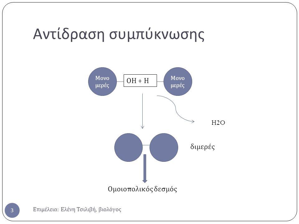 Αντίδραση συμπύκνωσης Επιμέλεια : Ελένη Τσιλιβή, βιολόγος 3 Μονο μερές ΟΗ + Η H2O διμερές Ομοιοπολικός δεσμός
