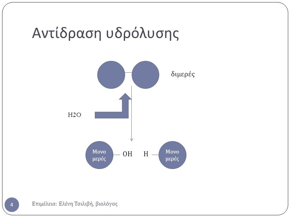 Αντίδραση υδρόλυσης Επιμέλεια : Ελένη Τσιλιβή, βιολόγος 4 Μονο μερές ΟΗ Η διμερές H2O