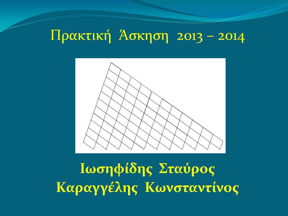 Πρακτική Άσκηση 2013 – 2014 Ιωσηφίδης Σταύρος Καραγγέλης Κωνσταντίνος