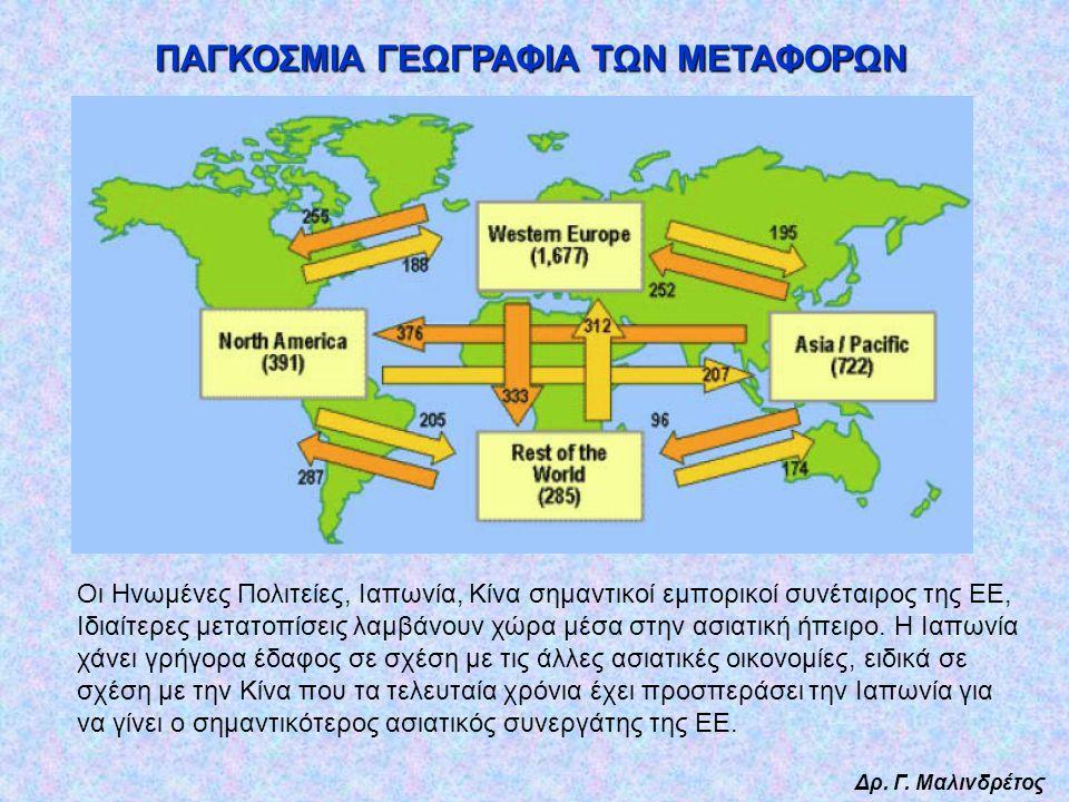 Δρ. Γ. Μαλινδρέτος ΠΑΓΚΟΣΜΙΑ ΓΕΩΓΡΑΦΙΑ ΤΩΝ ΜΕΤΑΦΟΡΩΝ Οι Ηνωμένες Πολιτείες, Ιαπωνία, Κίνα σημαντικοί εμπορικοί συνέταιρος της ΕΕ, Ιδιαίτερες μετατοπίσ