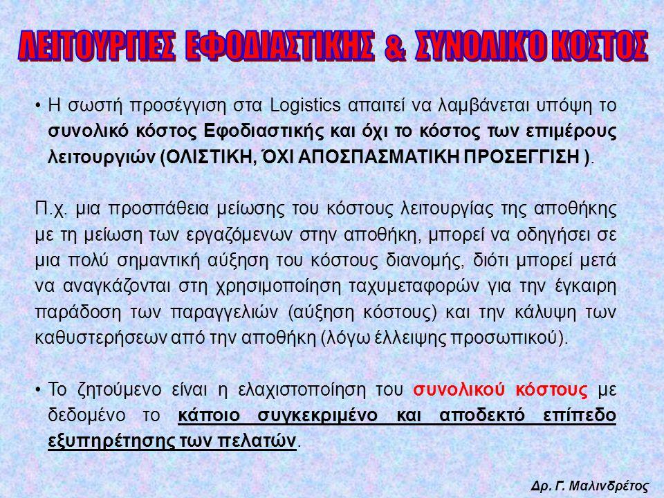 Δρ. Γ. Μαλινδρέτος Η σωστή προσέγγιση στα Logistics απαιτεί να λαμβάνεται υπόψη το συνολικό κόστος Εφοδιαστικής και όχι το κόστος των επιμέρους λειτου