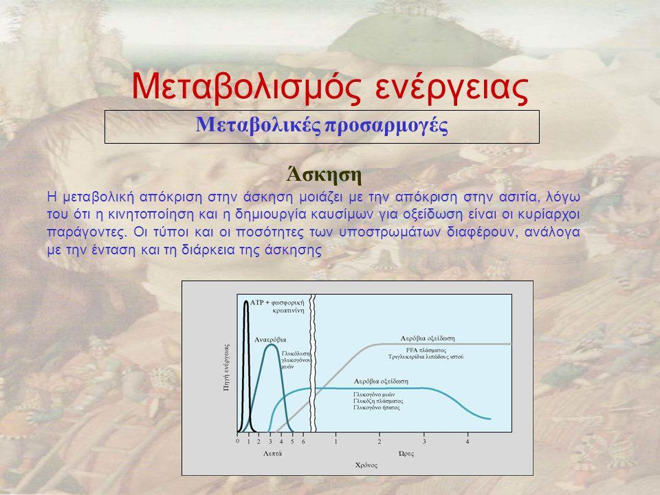 Μεταβολισμός ενέργειας Μεταβολικές προσαρμογές Άσκηση H μεταβολική απόκριση στην άσκηση μοιάζει με την απόκριση στην ασιτία, λόγω του ότι η κινητοποίηση και η δημιουργία καυσίμων για οξείδωση είναι οι κυρίαρχοι παράγοντες.