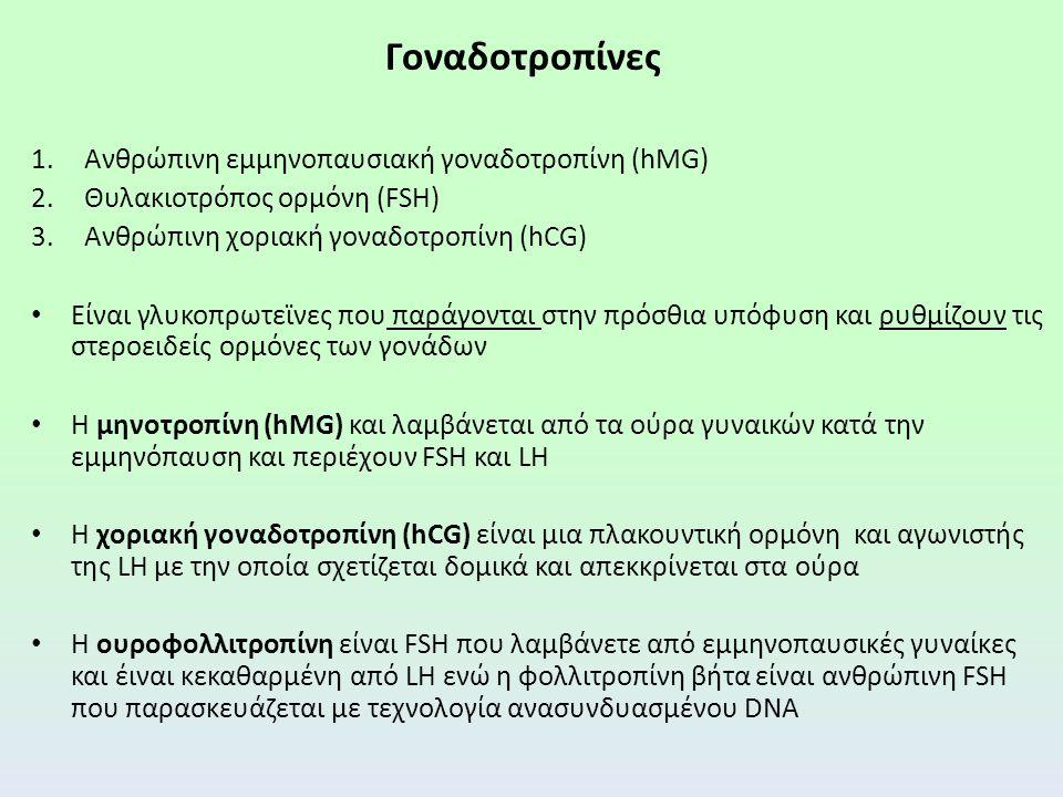 Γοναδοτροπίνες 1.Ανθρώπινη εμμηνοπαυσιακή γοναδοτροπίνη (hMG) 2.Θυλακιοτρόπος ορμόνη (FSH) 3.Ανθρώπινη χοριακή γοναδοτροπίνη (hCG) Είναι γλυκοπρωτεϊνες που παράγονται στην πρόσθια υπόφυση και ρυθμίζουν τις στεροειδείς ορμόνες των γονάδων Η μηνοτροπίνη (hMG) και λαμβάνεται από τα ούρα γυναικών κατά την εμμηνόπαυση και περιέχουν FSH και LΗ Η χοριακή γοναδοτροπίνη (hCG) είναι μια πλακουντική ορμόνη και αγωνιστής της LH με την οποία σχετίζεται δομικά και απεκκρίνεται στα ούρα Η ουροφολλιτροπίνη είναι FSH που λαμβάνετε από εμμηνοπαυσικές γυναίκες και έιναι κεκαθαρμένη από LH ενώ η φολλιτροπίνη βήτα είναι ανθρώπινη FSH που παρασκευάζεται με τεχνολογία ανασυνδυασμένου DNA