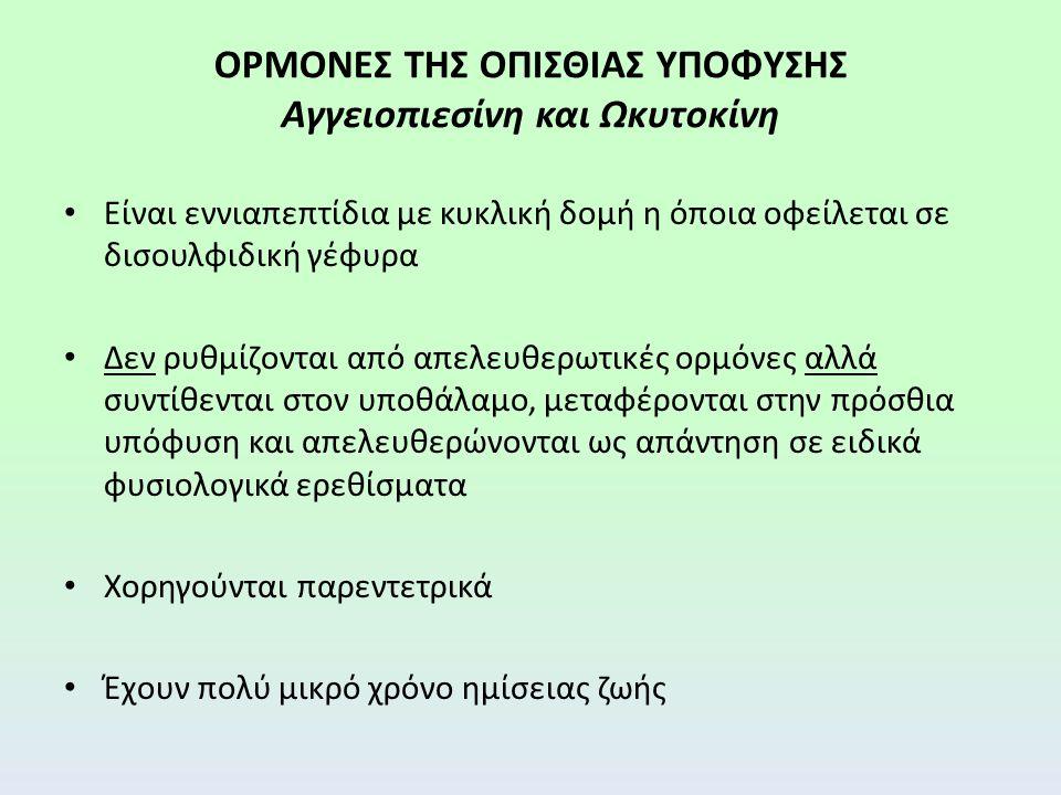 ΟΡΜΟΝΕΣ ΤΗΣ ΟΠΙΣΘΙΑΣ ΥΠΟΦΥΣΗΣ Αγγειοπιεσίνη και Ωκυτοκίνη Είναι εννιαπεπτίδια με κυκλική δομή η όποια οφείλεται σε δισουλφιδική γέφυρα Δεν ρυθμίζονται από απελευθερωτικές ορμόνες αλλά συντίθενται στον υποθάλαμο, μεταφέρονται στην πρόσθια υπόφυση και απελευθερώνονται ως απάντηση σε ειδικά φυσιολογικά ερεθίσματα Χορηγούνται παρεντετρικά Έχουν πολύ μικρό χρόνο ημίσειας ζωής