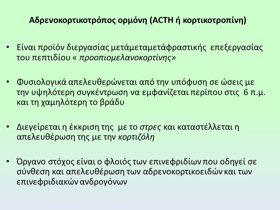 Αδρενοκορτικοτρόπος ορμόνη (ACTH ή κορτικοτροπίνη) Χρήση: ως διαγνωστικό μέσο για τη διαφορική διάγνωση της πρωτοπαθούς επινεφριδικής ανεπάρκειας ( π.χ.