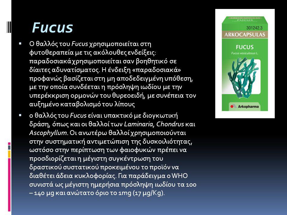 Fucus  Ο θαλλός του Fucus χρησιμοποιείται στη φυτοθεραπεία με τις ακόλουθες ενδείξεις: παραδοσιακά χρησιμοποιείται σαν βοηθητικό σε δίαιτες αδυνατίσμ