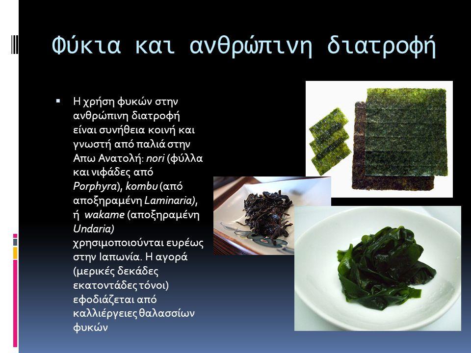 Φύκια και ανθρώπινη διατροφή  Η χρήση φυκών στην ανθρώπινη διατροφή είναι συνήθεια κοινή και γνωστή από παλιά στην Απω Ανατολή: nori (φύλλα και νιφάδ
