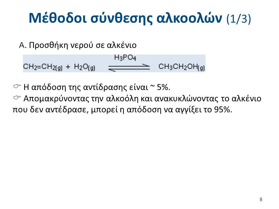 Μέθοδοι σύνθεσης αλκοολών (2/3) Β. Αναγωγή (υδρογόνωση) καρβονυλικών ενώσεων butanal 9