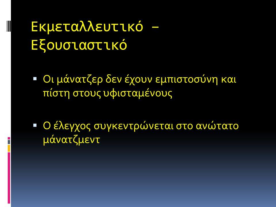 Τα Τέσσερα Συστήματα Διοίκησης  Εκμεταλλευτικό – Εξουσιαστικό  Φιλανθρωπικό – Εξουσιαστικό  Συμβουλευτικό  Συμμετοχικό