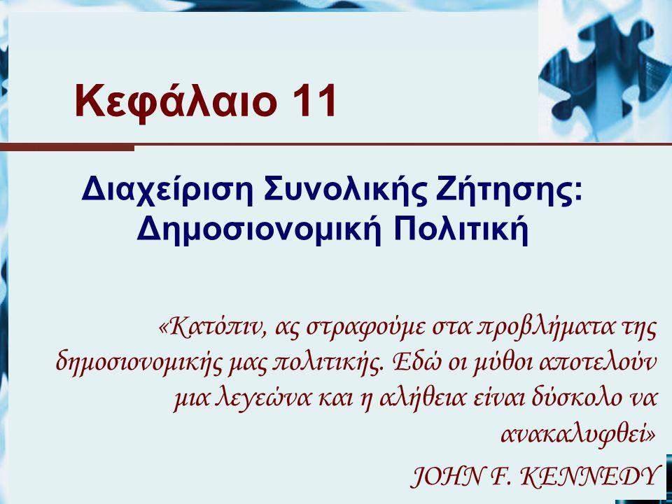 Κεφάλαιο 11 Διαχείριση Συνολικής Ζήτησης: Δημοσιονομική Πολιτική «Κατόπιν, ας στραφούμε στα προβλήματα της δημοσιονομικής μας πολιτικής.