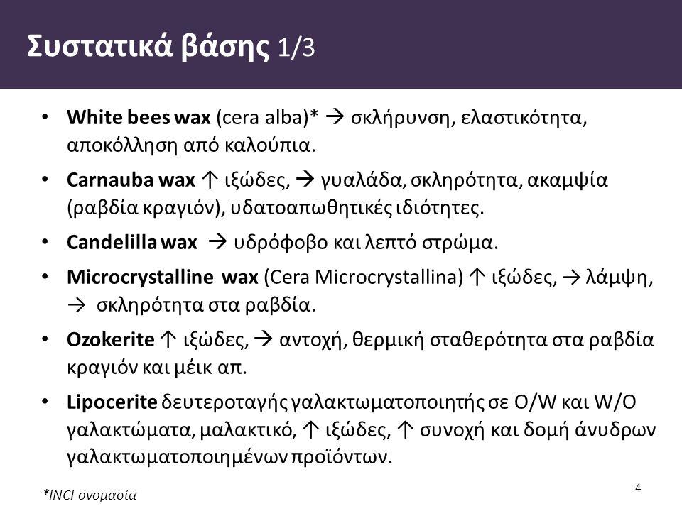 *INCI ονομασία Συστατικά βάσης 1/3 White bees wax (cera alba)*  σκλήρυνση, ελαστικότητα, αποκόλληση από καλούπια. Carnauba wax ↑ ιξώδες,  γυαλάδα, σ