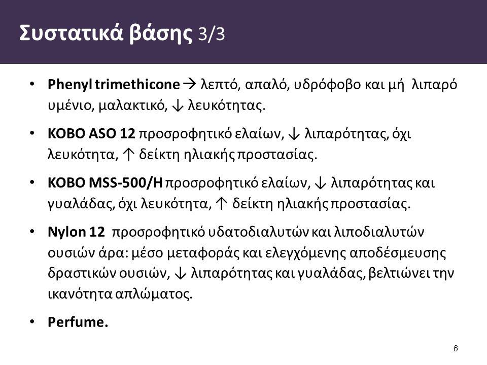 Συστατικά βάσης 3/3 Phenyl trimethicone  λεπτό, απαλό, υδρόφοβο και μή λιπαρό υμένιο, μαλακτικό, ↓ λευκότητας. ΚΟΒΟ ΑSO 12 προσροφητικό ελαίων, ↓ λιπ