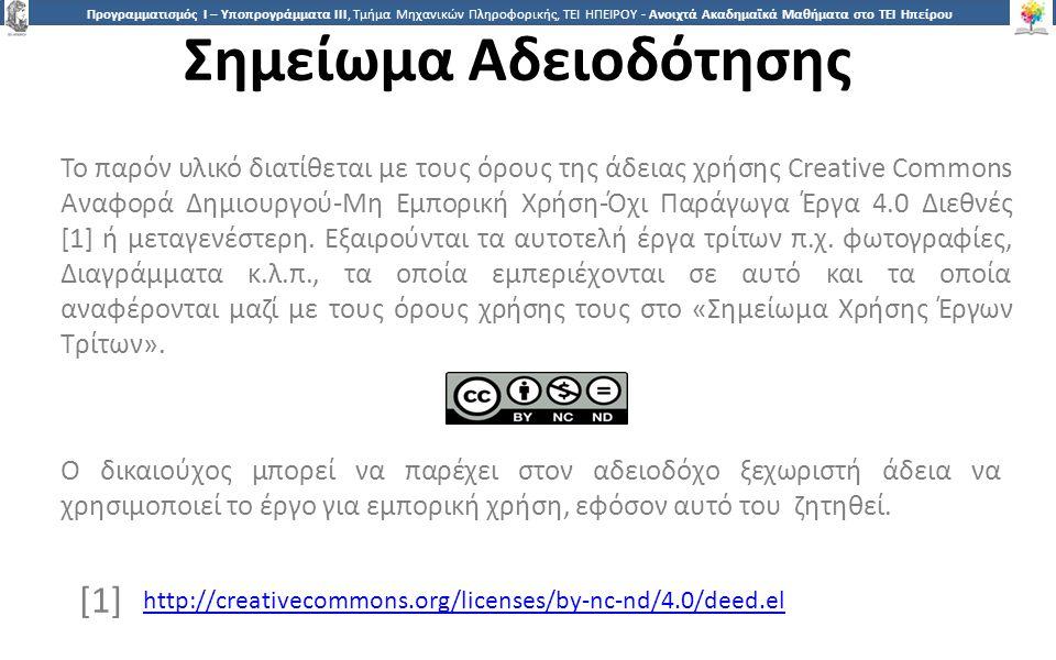2424 Προγραμματισμός Ι – Υποπρογράμματα ΙΙΙ, Τμήμα Μηχανικών Πληροφορικής, ΤΕΙ ΗΠΕΙΡΟΥ - Ανοιχτά Ακαδημαϊκά Μαθήματα στο ΤΕΙ Ηπείρου Σημείωμα Αδειοδότησης Το παρόν υλικό διατίθεται με τους όρους της άδειας χρήσης Creative Commons Αναφορά Δημιουργού-Μη Εμπορική Χρήση-Όχι Παράγωγα Έργα 4.0 Διεθνές [1] ή μεταγενέστερη.