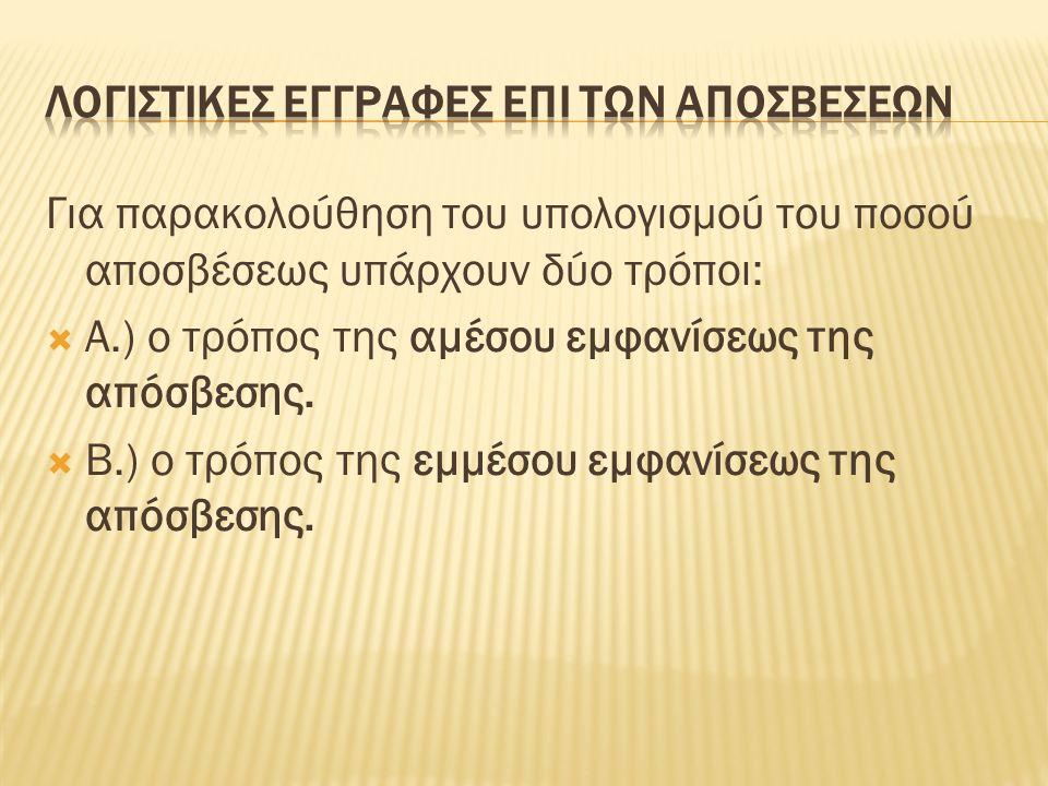 Για παρακολούθηση του υπολογισμού του ποσού αποσβέσεως υπάρχουν δύο τρόποι:  Α.) ο τρόπος της αμέσου εμφανίσεως της απόσβεσης.