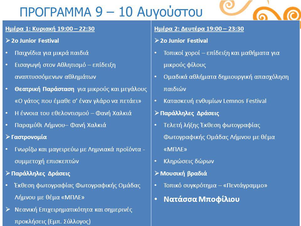 ΠΡΟΓΡΑΜΜΑ 9 – 10 Αυγούστου Ημέρα 1: Κυριακή 19:00 – 22:30  2o Junior Festival Παιχνίδια για μικρά παιδιά Εισαγωγή στον Αθλητισμό – επίδειξη αναπτυσσό