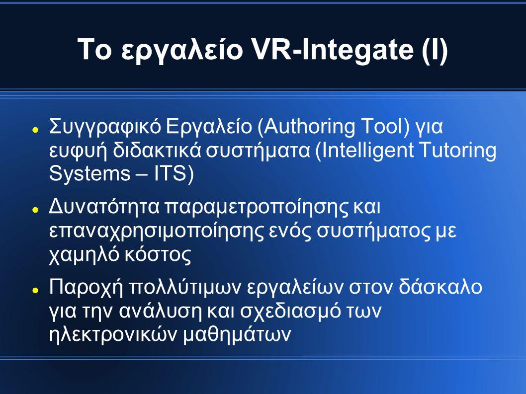 Το εργαλείο VR-Integate (Ι) Συγγραφικό Εργαλείο (Authoring Tool) για ευφυή διδακτικά συστήματα (Intelligent Tutoring Systems – ITS) Δυνατότητα παραμετροποίησης και επαναχρησιμοποίησης ενός συστήματος με χαμηλό κόστος Παροχή πολλύτιμων εργαλείων στον δάσκαλο για την ανάλυση και σχεδιασμό των ηλεκτρονικών μαθημάτων