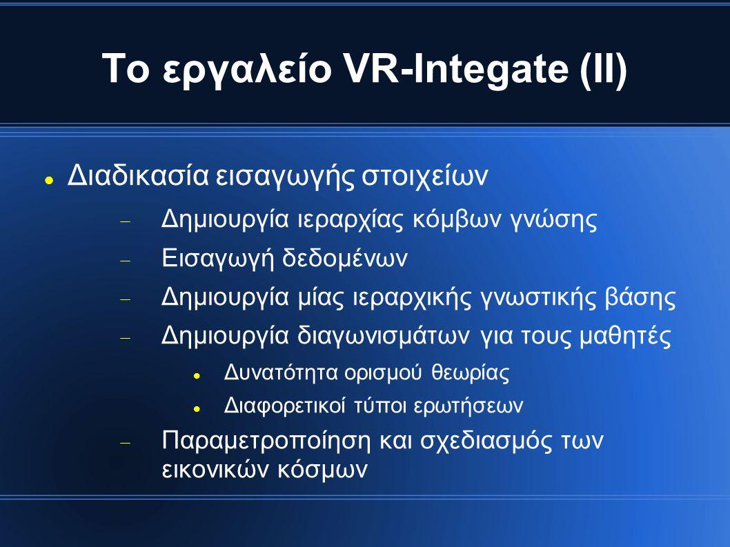 Το εργαλείο VR-Integate (ΙΙ) Διαδικασία εισαγωγής στοιχείων  Δημιουργία ιεραρχίας κόμβων γνώσης  Εισαγωγή δεδομένων  Δημιουργία μίας ιεραρχικής γνω