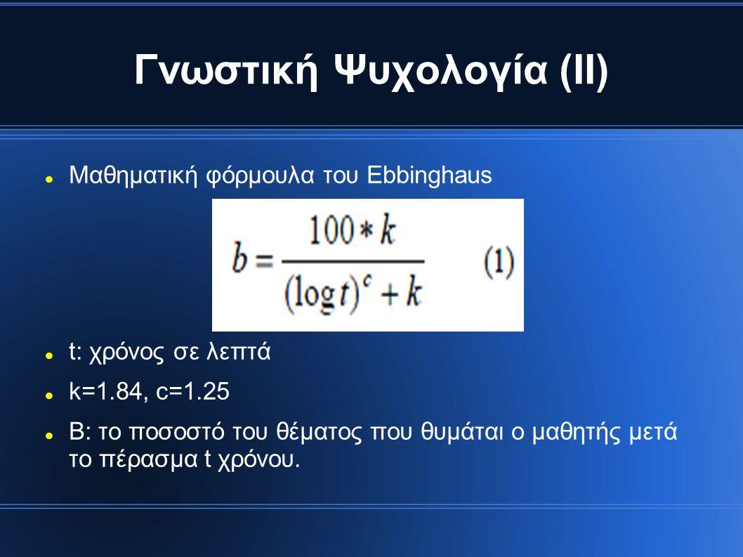 Γνωστική Ψυχολογία (ΙΙ) Μαθηματική φόρμουλα του Ebbinghaus t: χρόνος σε λεπτά k=1.84, c=1.25 B: το ποσοστό του θέματος που θυμάται ο μαθητής μετά το πέρασμα t χρόνου.