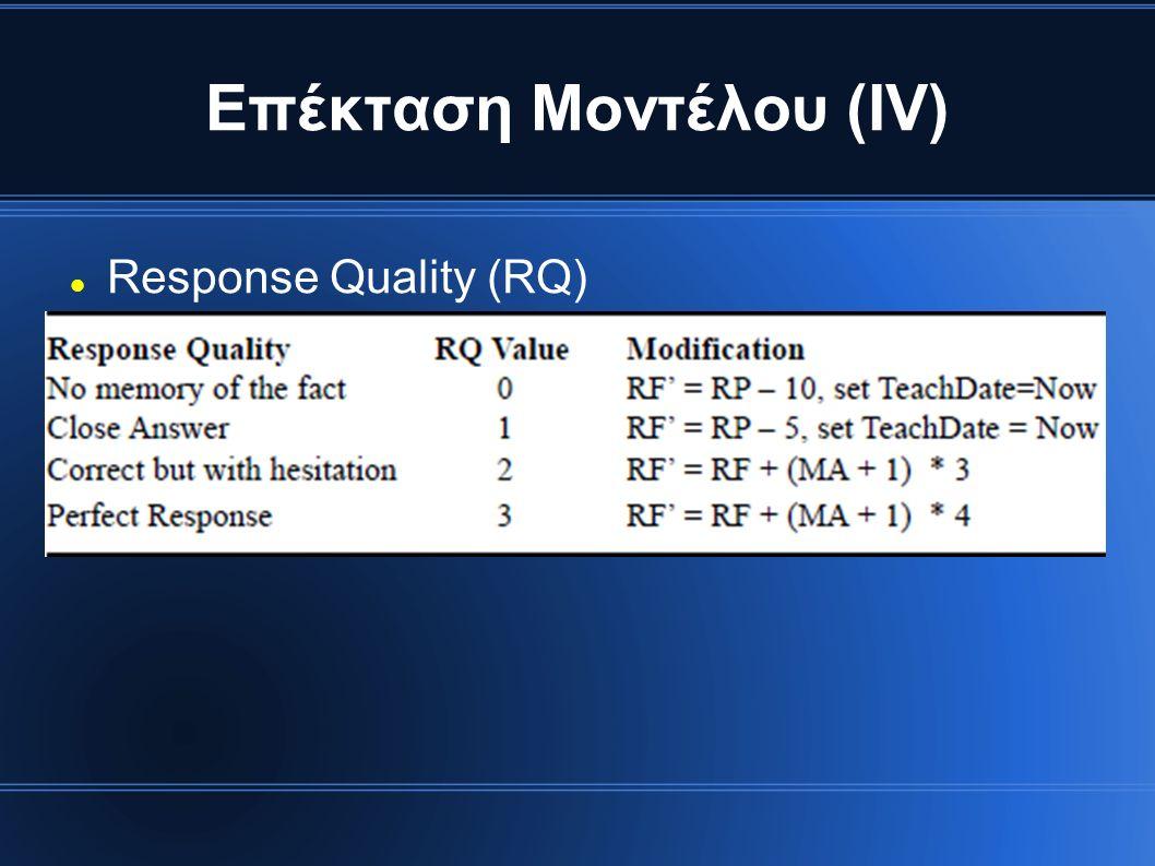 Επέκταση Μοντέλου (ΙV) Response Quality (RQ)