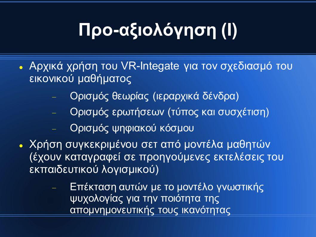 Προ-αξιολόγηση (Ι) Αρχικά χρήση του VR-Integate για τον σχεδιασμό του εικονικού μαθήματος  Ορισμός θεωρίας (ιεραρχικά δένδρα)  Ορισμός ερωτήσεων (τύπος και συσχέτιση)  Ορισμός ψηφιακού κόσμου Χρήση συγκεκριμένου σετ από μοντέλα μαθητών (έχουν καταγραφεί σε προηγούμενες εκτελέσεις του εκπαιδευτικού λογισμικού)  Επέκταση αυτών με το μοντέλο γνωστικής ψυχολογίας για την ποιότητα της απομνημονευτικής τους ικανότητας