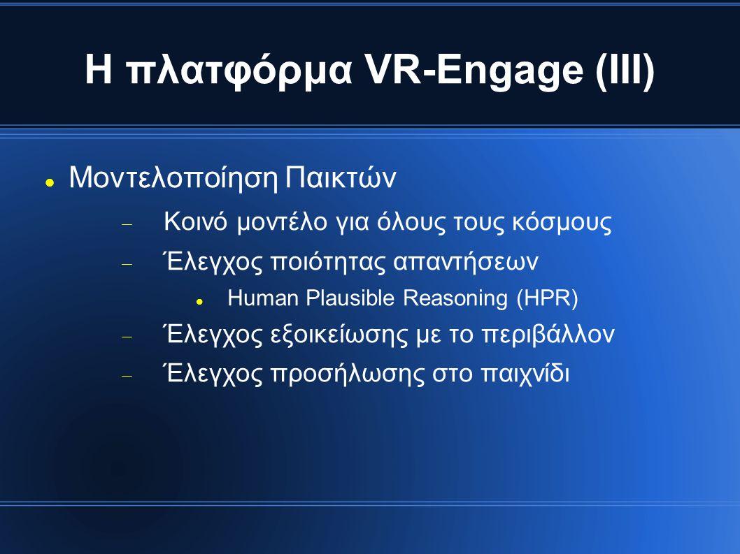 Η πλατφόρμα VR-Engage (ΙΙΙ) Μοντελοποίηση Παικτών  Κοινό μοντέλο για όλους τους κόσμους  Έλεγχος ποιότητας απαντήσεων Human Plausible Reasoning (HPR)  Έλεγχος εξοικείωσης με το περιβάλλον  Έλεγχος προσήλωσης στο παιχνίδι