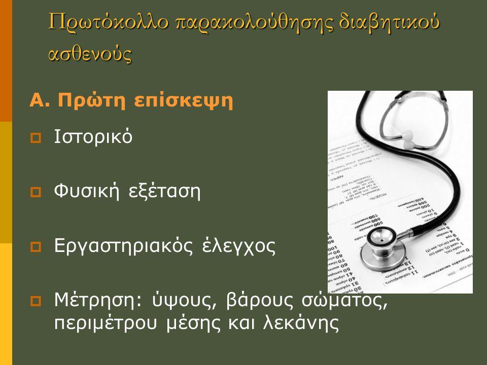 Πρωτόκολλο παρακολούθησης διαβητικού ασθενούς Α.