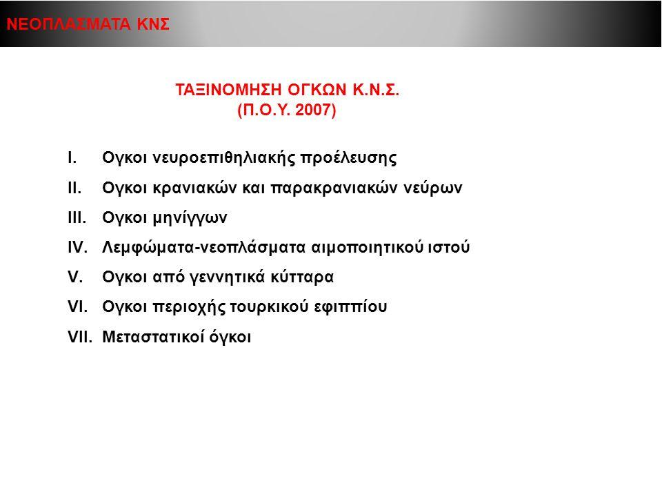 ΤΑΞΙΝΟΜΗΣΗ ΟΓΚΩΝ Κ.Ν.Σ. (Π.Ο.Υ. 2007) Ι. Ογκοι νευροεπιθηλιακής προέλευσης ΙΙ.Ογκοι κρανιακών και παρακρανιακών νεύρων ΙΙΙ.Ογκοι μηνίγγων IV.Λεμφώματα