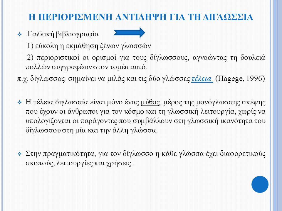 Η ΠΕΡΙΟΡΙΣΜΕΝΗ ΑΝΤΙΛΗΨΗ ΓΙΑ ΤΗ ΔΙΓΛΩΣΣΙΑ  Γαλλική βιβλιογραφία 1) εύκολη η εκμάθηση ξένων γλωσσών 2) περιοριστικοί οι ορισμοί για τους δίγλωσσους, αγ