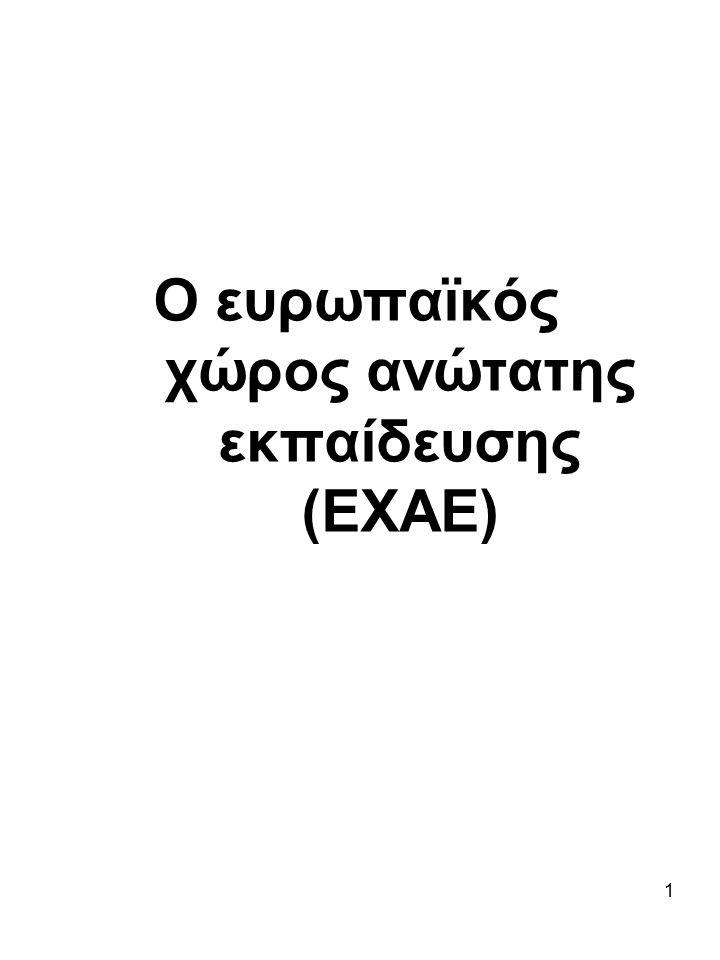 1 Ο ευρωπαϊκός χώρος ανώτατης εκπαίδευσης (ΕΧΑΕ) 1