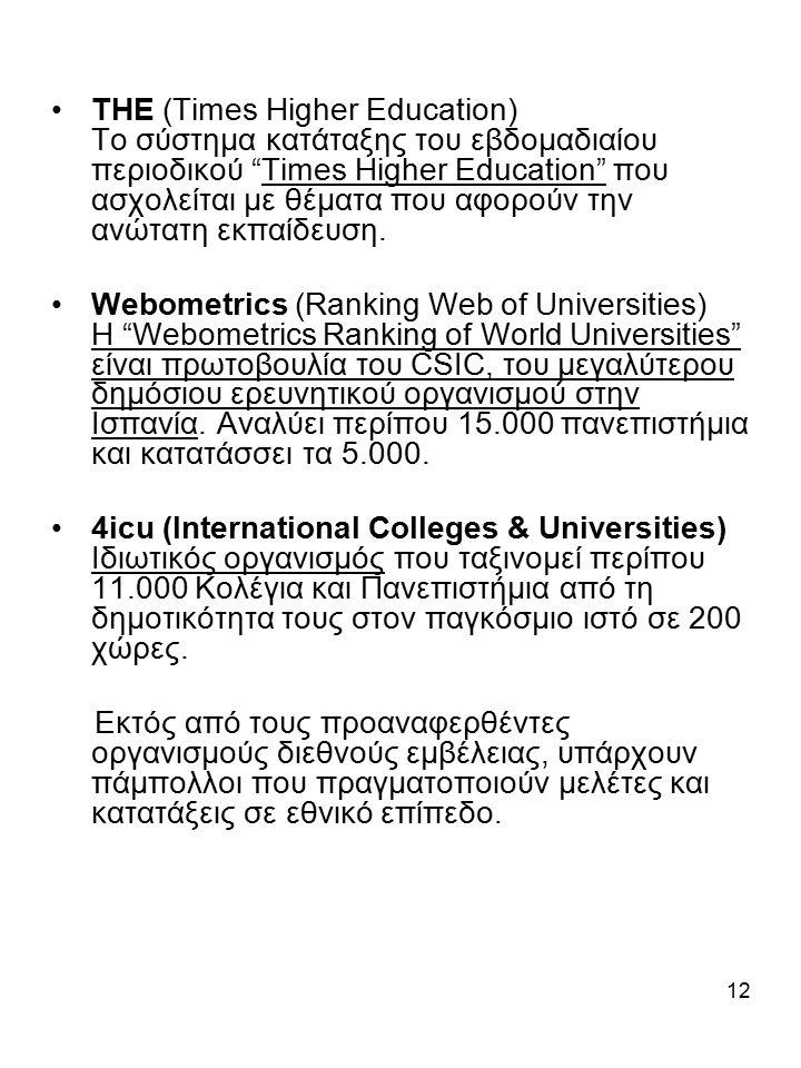 12 ΤΗΕ (Times Higher Education) Το σύστημα κατάταξης του εβδομαδιαίου περιοδικού Times Higher Education που ασχολείται με θέματα που αφορούν την ανώτατη εκπαίδευση.