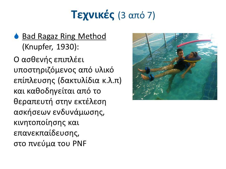 Τεχνικές (3 από 7)  Bad Ragaz Ring Method (Knupfer, 1930): Ο ασθενής επιπλέει υποστηριζόμενος από υλικό επίπλευσης (δακτυλίδια κ.λ.π) και καθοδηγείτα