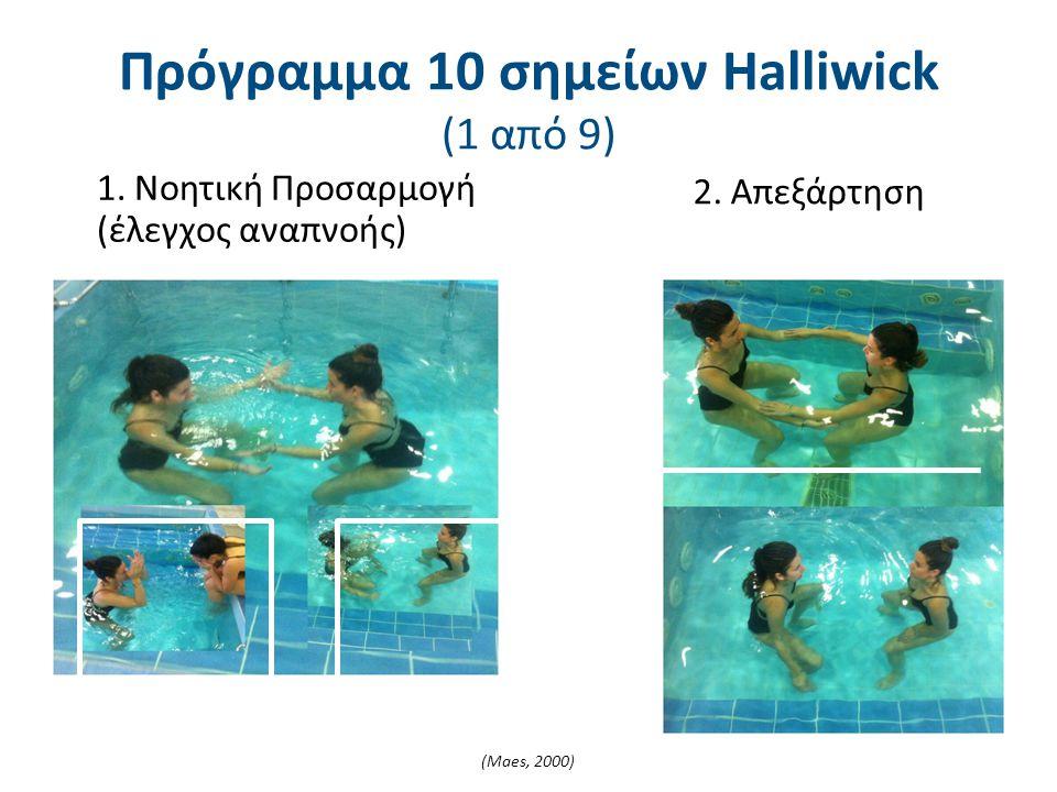 1. Νοητική Προσαρμογή (έλεγχος αναπνοής) 2. Απεξάρτηση Πρόγραμμα 10 σημείων Halliwick (1 από 9) (Maes, 2000)