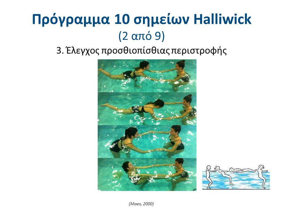 3. Έλεγχος προσθιοπίσθιας περιστροφής (Maes, 2000) Πρόγραμμα 10 σημείων Halliwick (2 από 9)