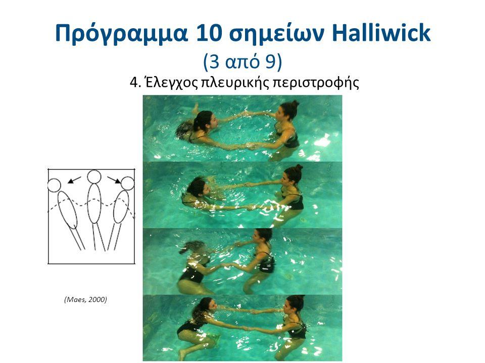 4. Έλεγχος πλευρικής περιστροφής (Maes, 2000) Πρόγραμμα 10 σημείων Halliwick (3 από 9)