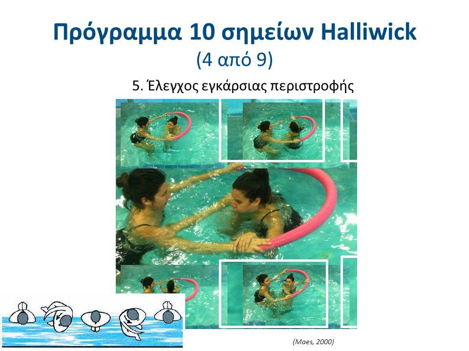 5. Έλεγχος εγκάρσιας περιστροφής (Maes, 2000) Πρόγραμμα 10 σημείων Halliwick (4 από 9)