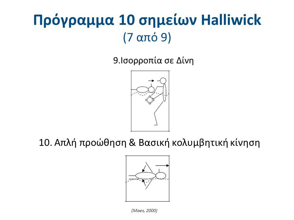 9.Ισορροπία σε Δίνη 10. Απλή προώθηση & Βασική κολυμβητική κίνηση (Maes, 2000) Πρόγραμμα 10 σημείων Halliwick (7 από 9)
