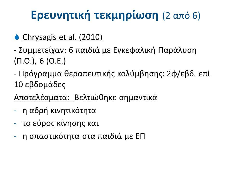 Ερευνητική τεκμηρίωση (2 από 6)  Chrysagis et al. (2010) - Συμμετείχαν: 6 παιδιά με Εγκεφαλική Παράλυση (Π.Ο.), 6 (Ο.Ε.) - Πρόγραμμα θεραπευτικής κολ