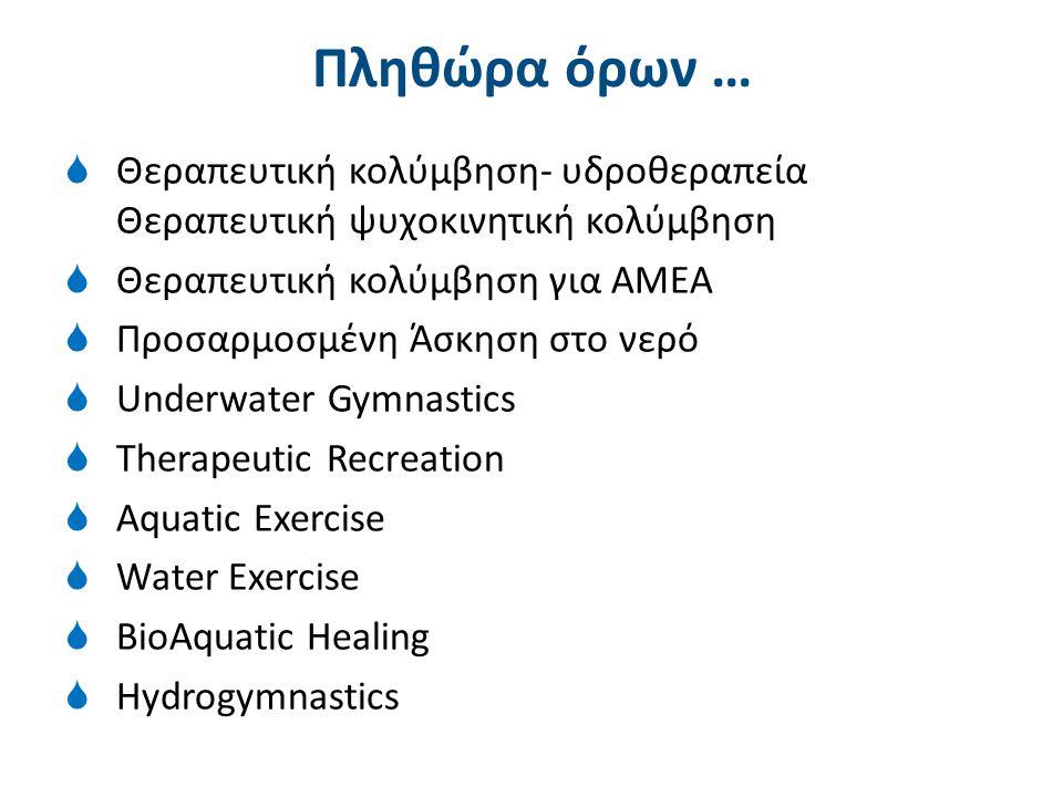 Πληθώρα όρων …  Θεραπευτική κολύμβηση- υδροθεραπεία Θεραπευτική ψυχοκινητική κολύμβηση  Θεραπευτική κολύμβηση για ΑΜΕΑ  Προσαρμοσμένη Άσκηση στο νε