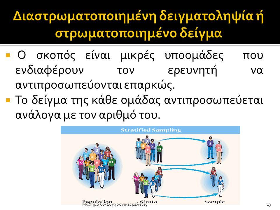  Ο σκοπός είναι μικρές υποομάδες που ενδιαφέρουν τον ερευνητή να αντιπροσωπεύονται επαρκώς.  Το δείγμα της κάθε ομάδας αντιπροσωπεύεται ανάλογα με τ