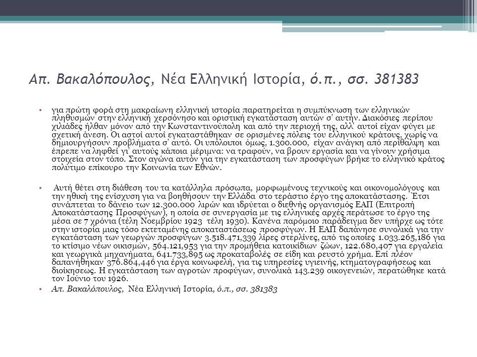 Απ. Βακαλόπουλος, Νέα Ελληνική Ιστορία, ό.π., σσ. 381383 για πρώτη φορά στη μακραίωνη ελληνική ιστορία παρατηρείται η συμπύκνωση των ελληνικών πληθυσμ