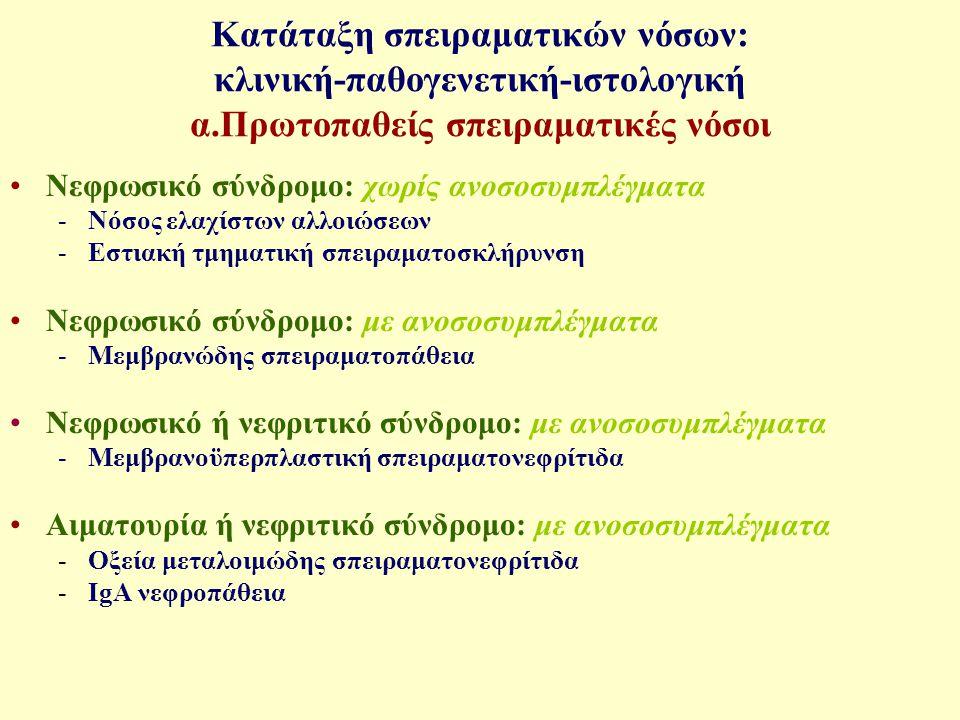 Κατάταξη σπειραματικών νόσων: κλινική-παθογενετική-ιστολογική Β.
